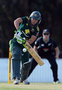 Shelley Nitschke watches the ball on to the bat, Australia Women v New Zealand Women, Rose Bowl, 2nd ODI, Brisbane, June 14, 2011