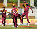 Anthony Martin celebrates taking a catch to dismiss Parthiv Patel, West Indies v India, 5th ODI, Kingston, Jamaica, June 16, 2011