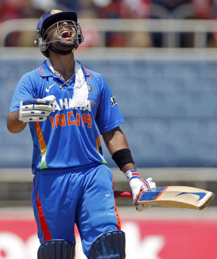 Virat Kohli reacts in anguish after his run-out, West Indies v India, 5th ODI, Kingston, Jamaica, June 16, 2011