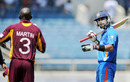 Anthony Martin and Virat Kohli exchange a few words, West Indies v India, 5th ODI, Kingston, Jamaica, June 16, 2011