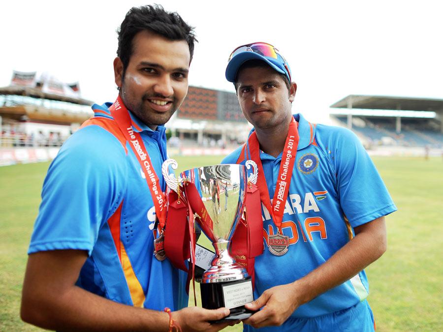 Man of the Series Rohit Sharma and Indian captain Suresh Raina ...