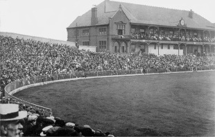 The crowd at Bramall Lane for the first day of the ground's only Test, England v Australia, 3rd Test, Sheffield, July 4, 1902