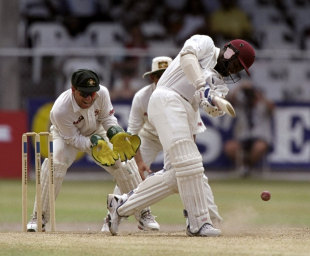 Brian Lara drives on his way to an unbeaten 153, West Indies v Australia, 3rd Test, Barbados, 5th day, March 30, 1999