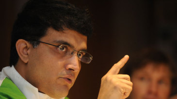 Sourav Ganguly speaks during the cricket clinic