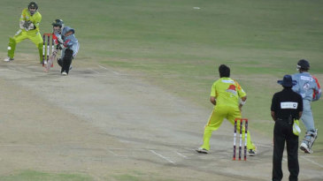 Shahid Yousuf pushes the ball to the off side during his 41