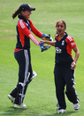 Isa Guha and Sarah Taylor celebrate an early wicket against India, England v India, NatWest Women's Quadrangular Series, Derby, June 30 2011