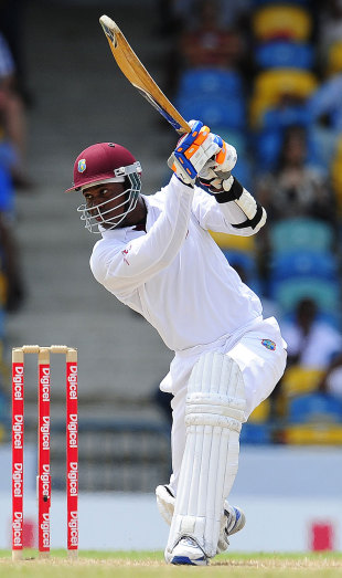 Marlon Samuels drives fluently through the covers, West Indies v India, 2nd Test, Bridgetown, 3rd day, June 30, 2011