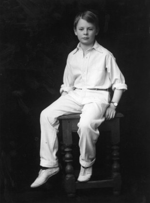 A young boy called Master Harmsworth in his cricket whites, 4 January 1917