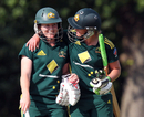 Sarah Coyte is congratulated by Clea Smith after hitting the winning runs off the final delivery, Australia v India, NatWest Women's Quadrangular Series, Chesterfield, July 2 2011