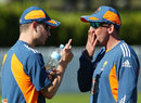 Michael Clarke shares a thought with Tim Nielsen, Brisbane, July 4, 2011