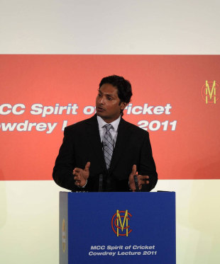 Kumar Sangakkara delivers the MCC Spirit of Cricket Cowdrey Lecture, Lord's, July 4, 2011