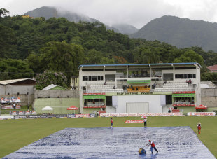 The covers stayed on for most of the afternoon session, West Indies v India, 3rd Test, Dominica, 1st day, July 6, 2011