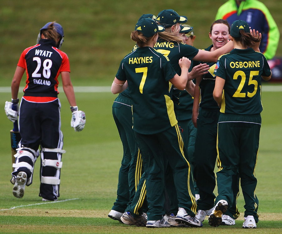 Australia celebrate an early wicket against England