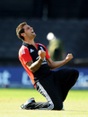 Jade Dernbach celebrates his dismissal of Angelo Mathews