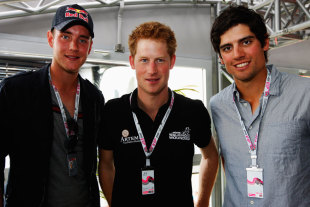 Stuart Broad and Alastair Cook with Prince Harry at the British Grand Prix, at the British Grand Prix, Northampton, July 10 2011