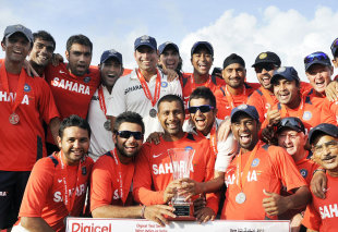 The Indian team with the series trophy, West Indies v India, 3rd Test, Dominica, 5th day, July 10, 2011