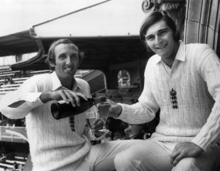 Geoff Arnold and Chris Old (right) celebrate after routing India for 42 at Lord's in 1974