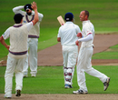 Charl Willoughby celebrates a wicket against India, Somerset v Indians, Taunton, 2nd day, July 16, 2011
