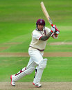Peter Trego plays a stroke through the off side, Somerset v Indians, Taunton, 3rd day, July 17, 2011