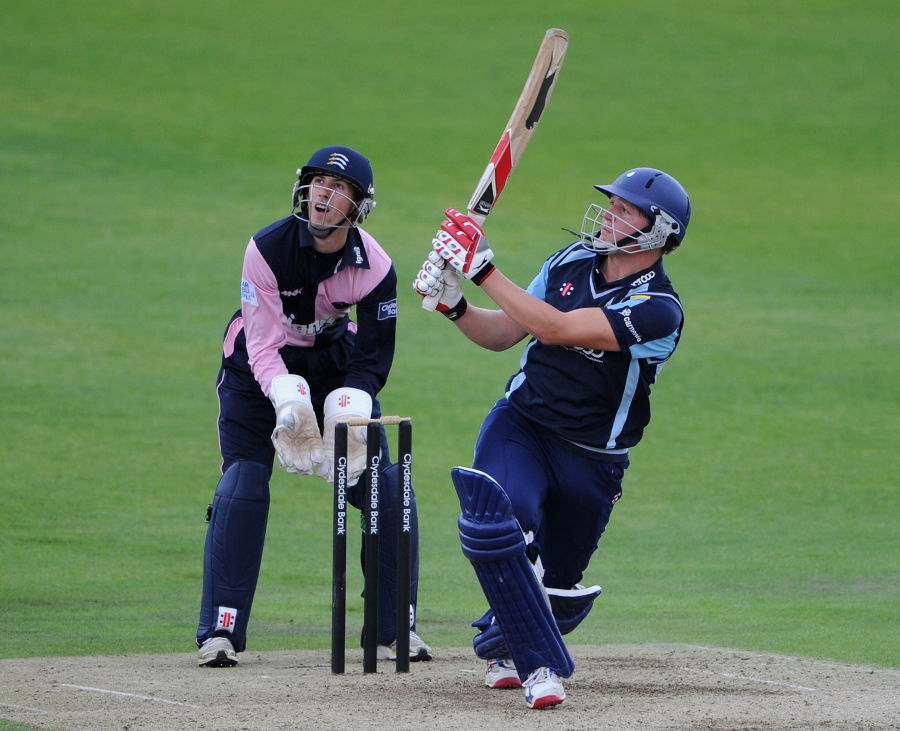 Gary Ballance crunches a leg-side boundary during his aggressive 71