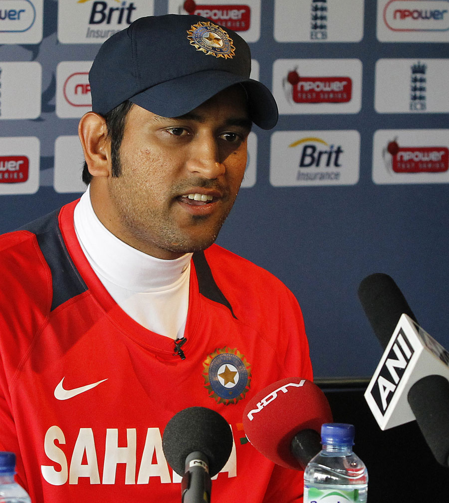 MS Dhoni addresses the press a day before the first Test