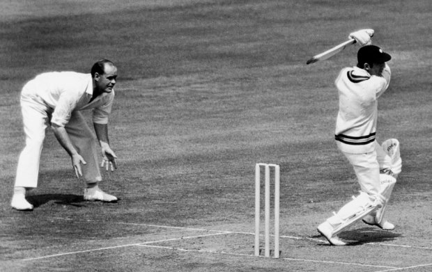 Brian Close watches as the Nawab of Pataudi drives during his century, England v India, 3rd Test, Headingley, 3rd day, June 10, 1967