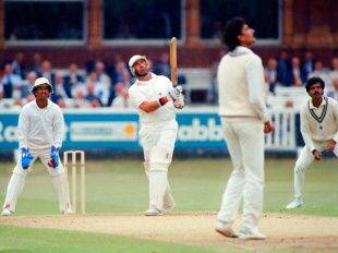 Graham Gooch lofts the ball during his 333, England v India, 1st Test, Lord's, 1st day, July 26, 1990