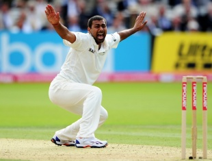 Praveen Kumar got on the honours board with a five-for, England v India, 1st Test, Lord's, 2nd day, July 22, 2011