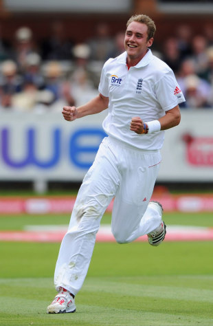 Stuart Broad celebrates Abhinav Mukund's dismissal, England v India, 1st Test, Lord's, 3rd day, July 23, 2011