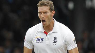 Chris Tremlett looks an imposing figure as he celebrates a wicket