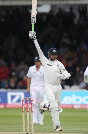 Rahul Dravid celebrates his 33rd Test century, England v India, 1st Test, Lord's, 3rd day, July 23, 2011