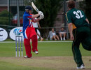Edward Farley pulls on his way to 90 off 48 balls for Jersey, Guernsey v Jersey, third-place playoff, European Championship Division One Twenty20, St Clement, July 24, 2011