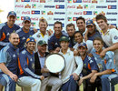 Australia A pose with the trophy after defeating Zimbabwe XI