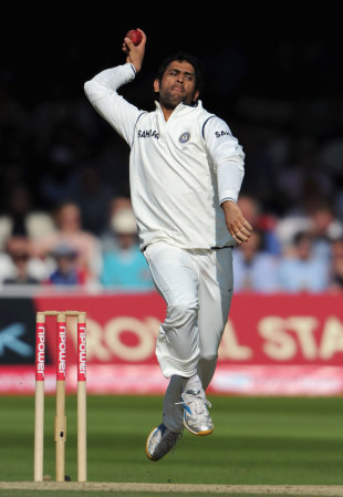 An injury to Zaheer Khan meant MS Dhoni was forced to bowl himself during the Test