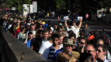 A rare sight: serpentine queues outside Lord's