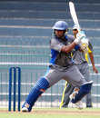 Dilshan Munaweera cuts during his unbeaten fifty