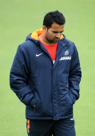 Zaheer Khan takes a break during India's practice session, Nottingham, July 28, 2011