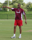 Courtney Walsh oversees the West Indies Under-19 warm-up session, Lauderhill, July 2011