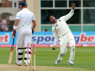 Sreesanth celebrates one of his three wickets, that of Matt Prior