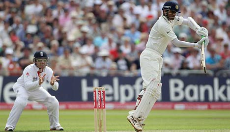 Rahul Dravid pushes one into the off side
