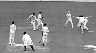 Tony Lock catches Jim Burke for 33 off Jim Laker