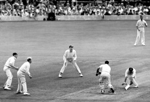 Godfrey Evans stumps Ron Archer off Laker's bowling