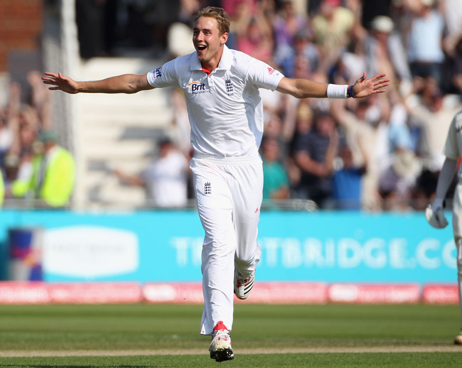 Stuart Broad spreads his arms to celebrate his hat-trick