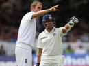Stuart Broad and Sachin Tendulkar point towards the stands, England v India, 1st Test, Lord's, 5th day, July 25, 2011