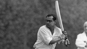 Pankaj Roy plays a shot towards third man