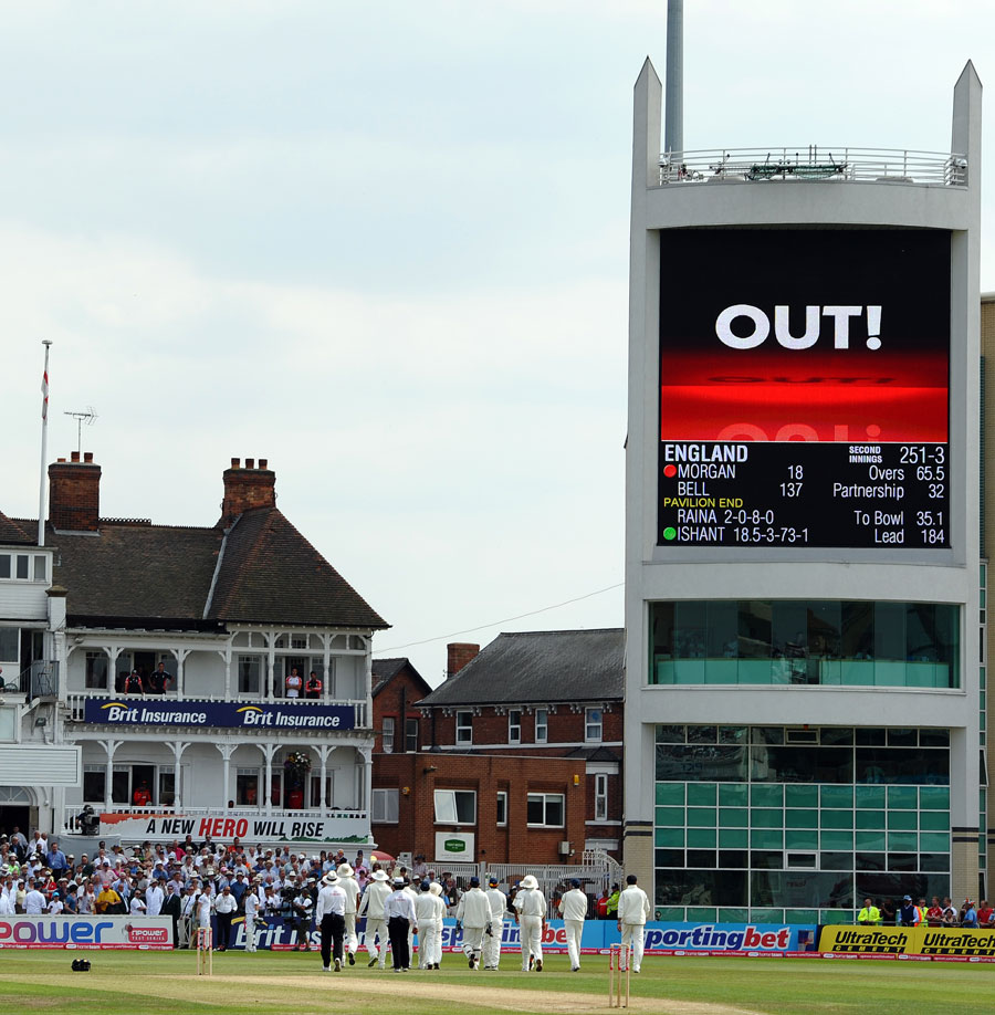 The big screen confirmed that Ian Bell was run out before the appeal was retracted during tea