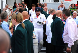 Much to the surprise of everyone at the ground, Ian Bell emerged from the pavilion after tea, England v India, 2nd npower Test, Trent Bridge, 3rd day, July 31, 2011