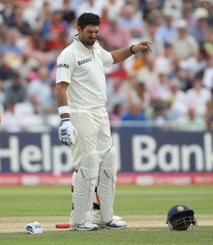 Yuvraj Singh was hit on the hand by a bouncer during the Trent Bridge Test