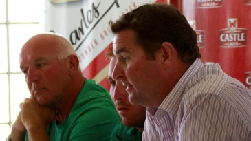 Alistair Campbell, Brendan Taylor and Alan Butcher at the announcement of Zimbabwe's Test team