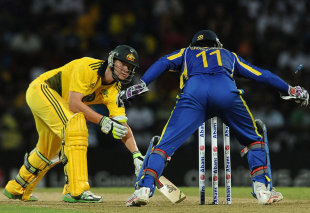 Steven Smith is stumped by Kumar Sangakkara, Sri Lanka v Australia, 1st Twenty20, Pallekele, August 6, 2011